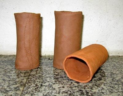 half-burnt clay pipe 6 x 14cm